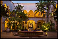 Casa de Balboa mauresque courtyard at dusk. San Diego, California, USA ( color)