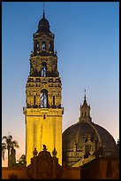 Museum of Man tower and dome at dusk. San Diego, California, USA ( color)