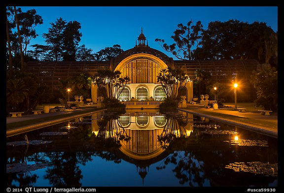 Botanical Building and reflection at night. San Diego, California, USA (color)