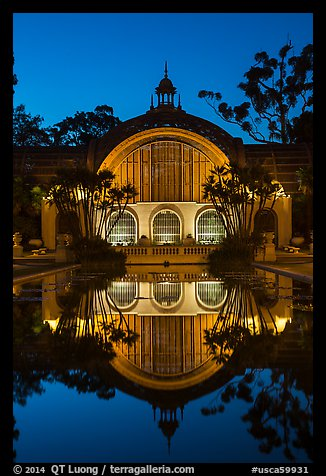 Botanical Building reflected at night. San Diego, California, USA (color)