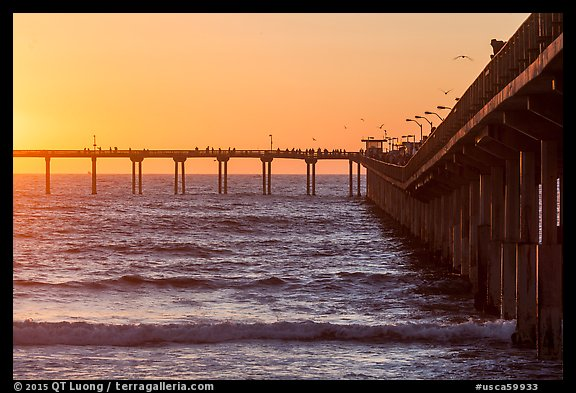Ocean Beach Pier at sunset. San Diego, California, USA (color)