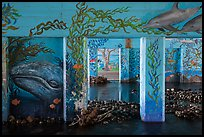 PCH underpass decorated with mural of ocean life, Leo Carrillo State Park. Los Angeles, California, USA