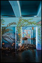 Underpass with mural of marine life, Leo Carrillo State Park. Los Angeles, California, USA ( color)