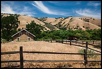 Fences and barracks, Fort Tejon state historic park. California, USA ( color)