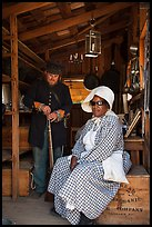 Elderly couple in period costume, Fort Tejon. California, USA ( color)