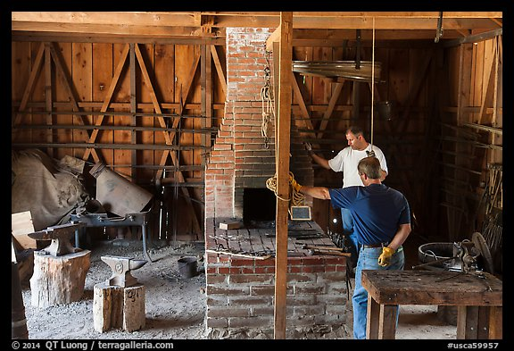 Blacksmith workshop, Fort Tejon. California, USA (color)