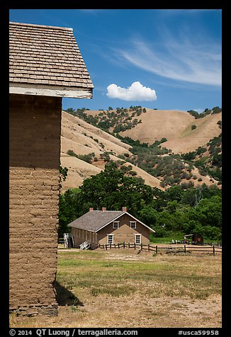 Barracks and hills, Fort Tejon state historic park. California, USA (color)