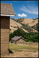 Barracks and hills, Fort Tejon state historic park. California, USA ( color)