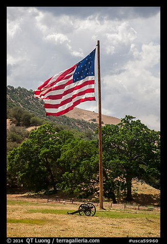 American flag, Fort Tejon. California, USA (color)