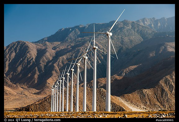 Wind turbines and mountains, San Gorgonio Pass. California, USA (color)