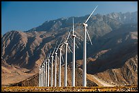 Wind turbines and mountains, San Gorgonio Pass. California, USA ( color)