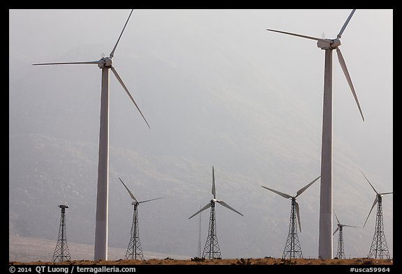 Wind turbines, San Gorgonio Pass. California, USA (color)