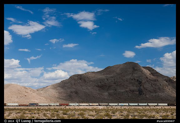 Freight train in desert. California, USA (color)