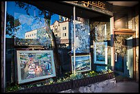Reflection in art gallery window. Laguna Beach, Orange County, California, USA ( color)