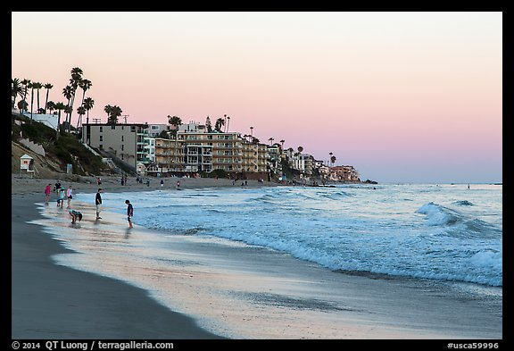 Beachfront at sunset. Laguna Beach, Orange County, California, USA (color)
