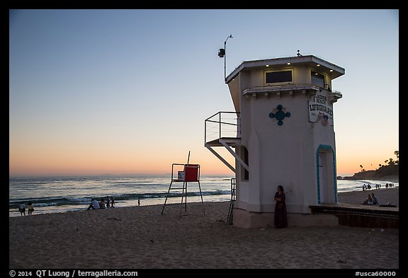 Beach and lifeguard tower at sunset. Laguna Beach, Orange County, California, USA (color)