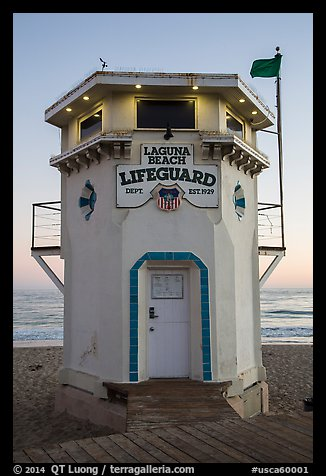 Lifeguard tower. Laguna Beach, Orange County, California, USA (color)