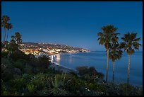 View from park at night. Laguna Beach, Orange County, California, USA ( color)