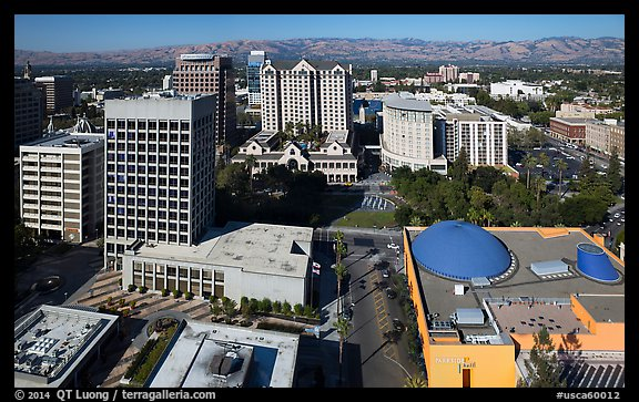 Aerial view of Tech Museum and Plaza de Cesar Chavez. San Jose, California, USA (color)