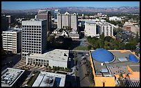 Aerial view of Tech Museum and Plaza de Cesar Chavez. San Jose, California, USA