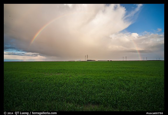 Pasture and rainbow in the spring. California, USA (color)