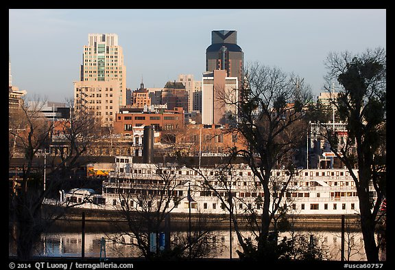 Riverboat and downtown skyline. Sacramento, California, USA (color)