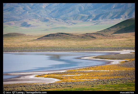 Soda Lake shore and hills from above. Carrizo Plain National Monument, California, USA (color)