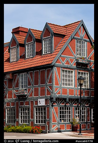 Red half-timbered building. Solvang, California, USA (color)