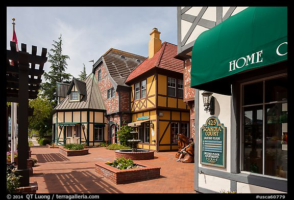 Court with half-timbered buildings. Solvang, California, USA (color)