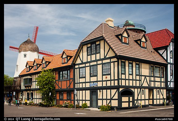 Half-timbered buildings and windmill. Solvang, California, USA (color)