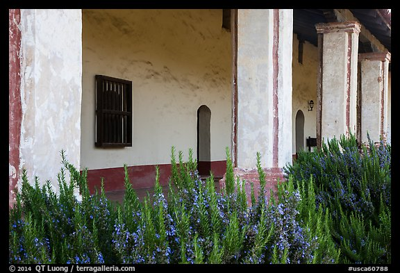 Flowers and gallery, La Purísima Mission. Lompoc, California, USA (color)