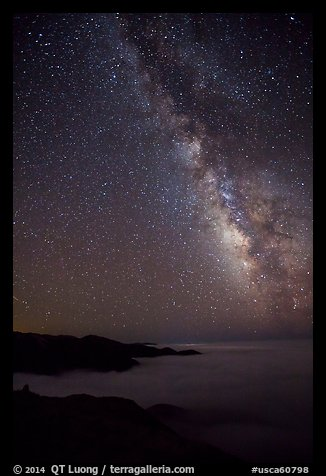 Sky at night with Milky Way above sea of clouds, Garrapata State Park. Big Sur, California, USA (color)