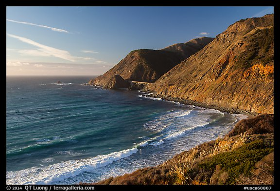 Cove lighted by setting sun. Big Sur, California, USA (color)