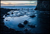 Creek flowing into ocean at dusk. Big Sur, California, USA ( color)