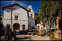 Church and bell tower, Mission San Juan Bautista. San Juan Bautista, California, USA ( color)