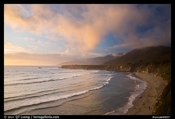 Sand Dollar Beach at sunset. Big Sur, California, USA (color)