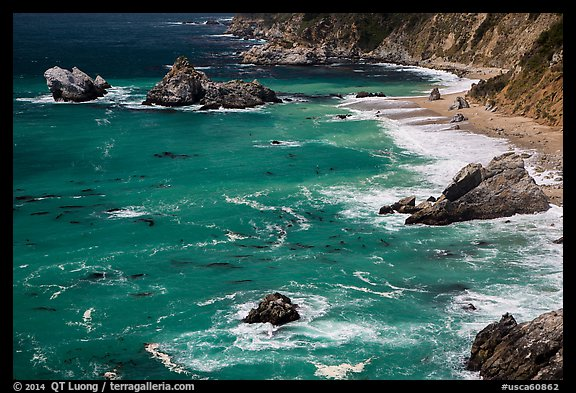 Green waters and shoreline, Julia Pfeiffer Burns State Park. Big Sur, California, USA (color)