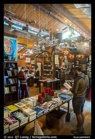 Visitors browsing books, Henry Miller Memorial Library. Big Sur, California, USA (color)