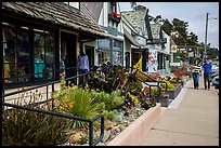 Shops and couple walking, Cambria. California, USA ( color)