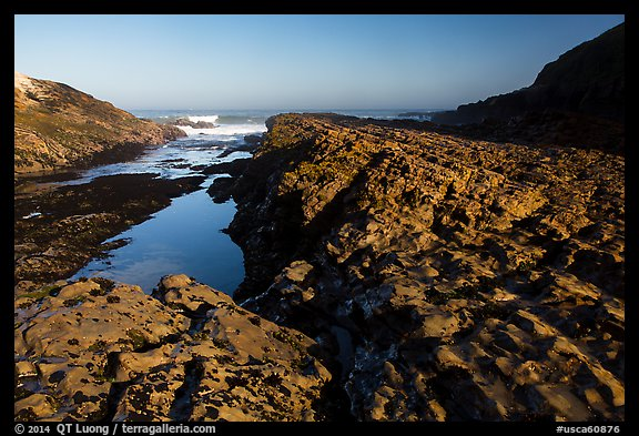 Rock rib, early morning, Spooners Cove, Montana de Oro State Park. Morro Bay, USA (color)
