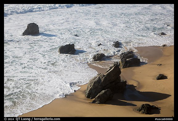 Surf, rock, and beach, Garrapata state park. Big Sur, California, USA (color)