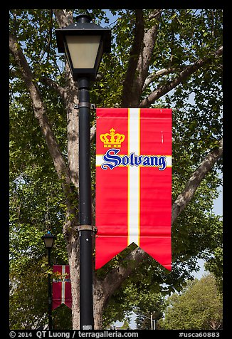 Flag with Danish colors. Solvang, California, USA (color)