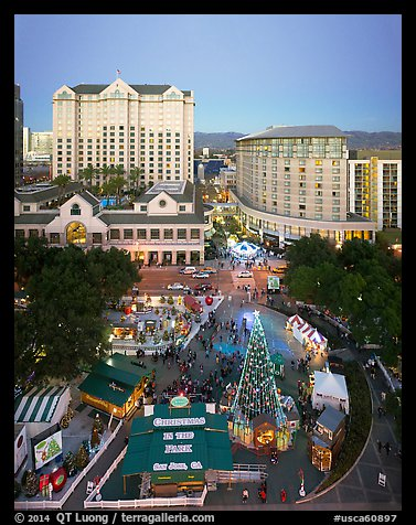 Aerial view of Christmas in the Park and Fairmont Hotel. San Jose, California, USA (color)