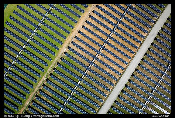 Aerial view of photovoltaic power station. San Jose, California, USA (color)
