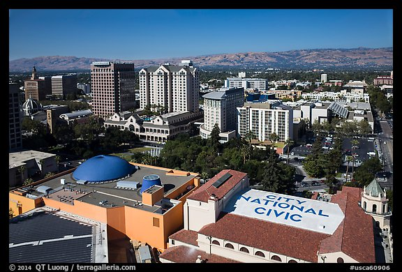 Aerial view of dowtown, City National Civic, and Plaza Cesar Chavez. San Jose, California, USA (color)