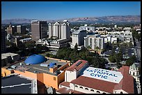 Aerial view of dowtown, City National Civic, and Plaza Cesar Chavez. San Jose, California, USA ( color)