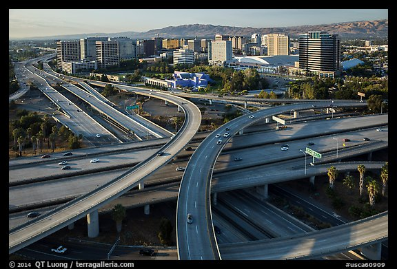 Aerial view of highway exchange and downtown. San Jose, California, USA (color)