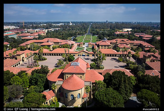Aerial view of Memorial Church, Main Quad, and Oval. Stanford University, California, USA (color)