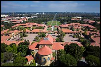 Aerial view of Memorial Church, Main Quad, and Oval. Stanford University, California, USA ( color)