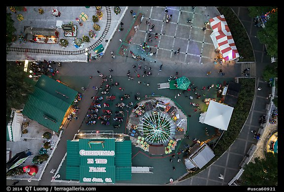 Aerial view of Christmas in the Park looking straight down. San Jose, California, USA (color)